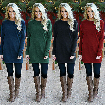 Womens Long Sleeve Sweater Top Ladies Knitted Mini Jumpers Tunic Dress Size 8-14