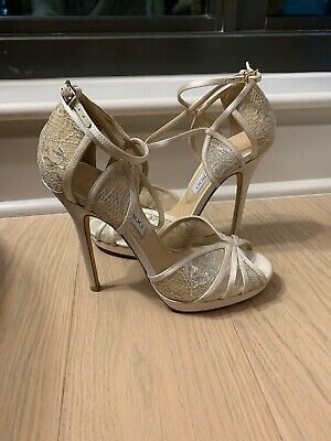 22a709066afa JIMMY CHOO IVORY Satin and White Lace Sandals Size 37.5 -  310.00 ...
