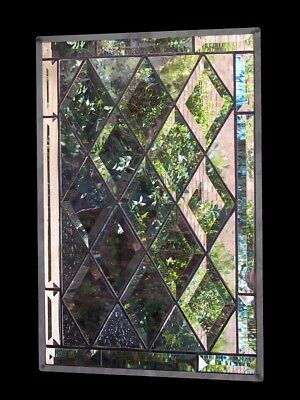 Diamond Beveled Stained Glass Window Panel hanging customizable window cabinet