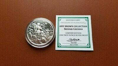 Amy Brown Collection Second Cousins Fairy 1 Oz Silver Proof Round Capsule & Coa