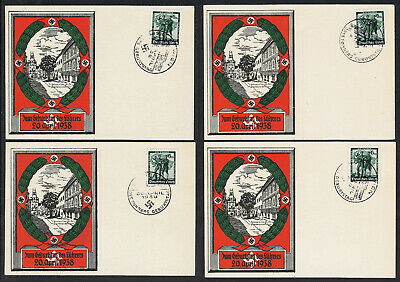 Nazi Germany 1938 Hitler's Birthday x 4 Postcards Nicely Used