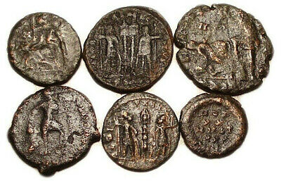 Lot of 6 Æ2-4 Ancient Roman Bronze Coins from IV. Century