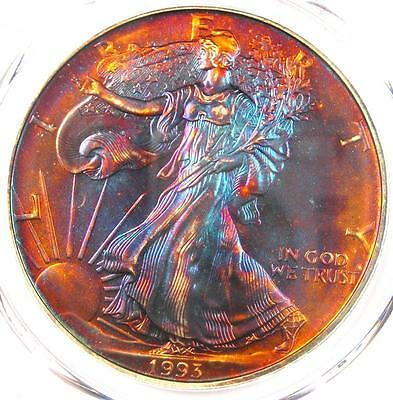 1993 Toned American Silver Eagle Dollar $1 ASE - PCGS MS68 - Rainbow Toning !