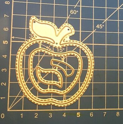 Brand New Stitched Apple Trio Teacher Graduation Metal Die Cutter Set Uk Seller