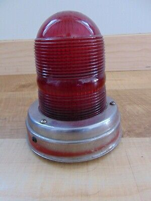 Vintage GROTE Emergency Beacon FIRE LIGHT police Red Glass lens CATS EYE NO. 10