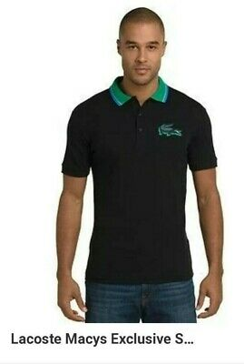 65b37c1ce Lacoste Mens Polo 8 Shirt RARE 3D Rubber Croc Black Authentic Macy s  Exclusive