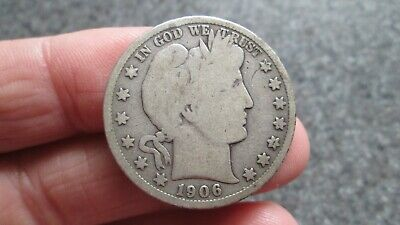 1906's BARBER SILVER HALF DOLLAR in GOOD  condition,NICE DATE, FREE SHIPPING