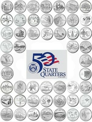 "1999-2008 US State Quarters Complete Uncirculated Set ""P"" Mint, 50 coins"