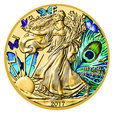 1oz Silver American Eagle Coin Colorized and Gold Gilded Butterflies and Peacock