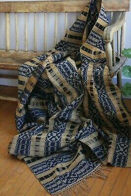 "1800's WOVEN WOOL COVERLET 86""X 65"" PRUSSIAN BLUE, ECRU, BROWN NICE EARLY DESIGN"