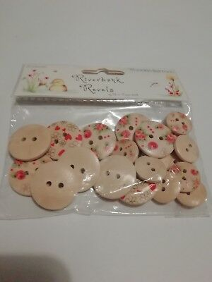 Riverbank Revels wooden type buttons pack of 20 BNWT