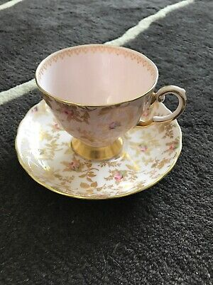 Royal Tuscan Pink Rose Floral Fluted Coffee Tea Cup And Saucer