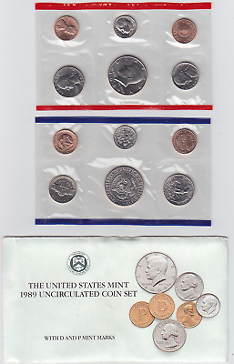 1989 US Mint Uncirculated Coin Set in OGP Envelope P & D 10 Coins
