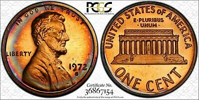 1972-S Lincoln Memorial Cent Penny PCGS PR67RD Deep Superb Color Toned