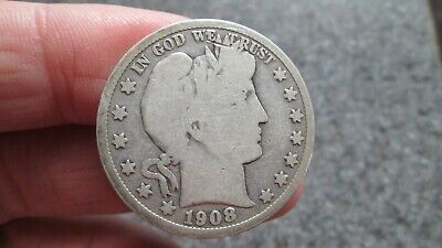 1908's BARBER SILVER HALF DOLLAR in  GOOD  condition,NICE DATE, FREE SHIPPING