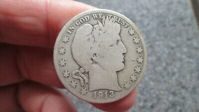 1913's BARBER SILVER HALF DOLLAR in  GOOD  condition,NICE DATE,FREE SHIPPING