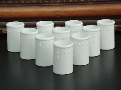 10 Vintage Chandelier Candle Drip Tubes White Plastic 55mm x 33mm light covers