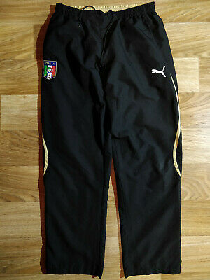 81734d6f6e46 Puma Italia Mens Tracksuit Pants Trousers Football Soccer Italy Black Beige  FIGC