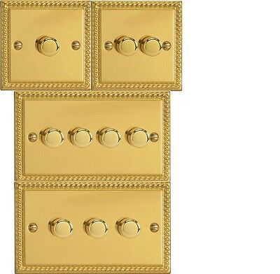 Varilight Georgian Brass Effect  Dimmer Light Switch 1 2 3 4 gang Single/Double