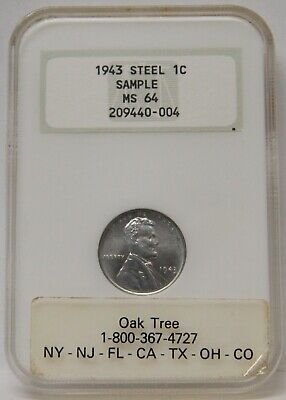 1943 Sample Lincoln Steel Wheat Cent NGC MS64 Old Holder Fatty Oak Tree