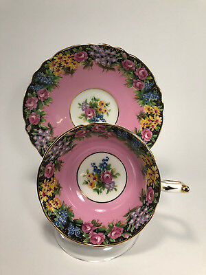 Rare, Exquisite Pink Double Warrant Paragon Teacup and Saucer