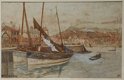 Antique Early 20th Century SIGNED Watercolor with Provenance - Whitby Fish Quay