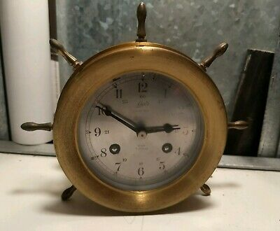 """Aug. Schatz & Sohne Vintage Nautical Ships Bell Clock Made in Germany 3.5"""" Face"""