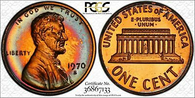 1970-S Lincoln Memorial Cent Penny PCGS PR66RB Large Date Targeted Color Toned