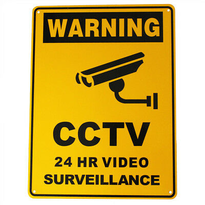 WARNING SIGN Metal SECURITY CAMERA CCTV 300x225mm UNDER 24H SURVEILLANCE OUTDOOR