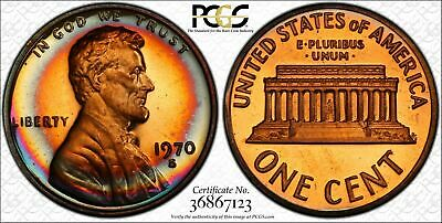1970-S Lincoln Memorial Cent Penny PCGS PR66RD Large Date Superb Color Toned