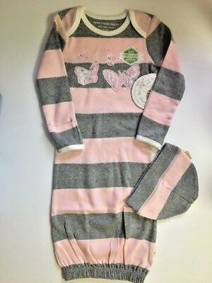 7a5bc020f Burt's Bees Baby Girl Infant Organic Cotton Gown With Matching Cap 0-6  Months