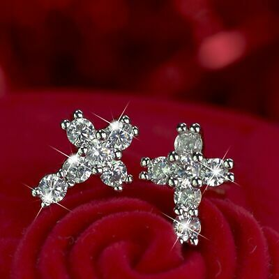 18k yellow white gold GF made with Swarovski crystal cross stud classic earrings