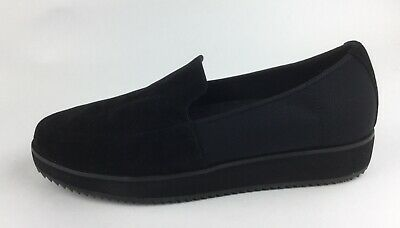 f155c1fa4ed Eileen Fisher Dell Womens Black Suede Leather Textile Mesh Loafers Sz US 8.5