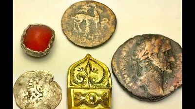 ANCIENT AUTH. 5 ITEM$; BEE, GREEK ca 400 BC & SILVER wRED STONE & 3 ROMAN 27 BC-