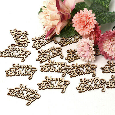 Letter Carving Wooden Slice Happy Birthday Hanging Ornaments Wood DIY Crafts