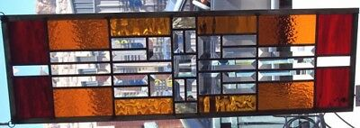 Beveled Stained Glass Window Panel missionTransom sidelight prairie Frank Wright