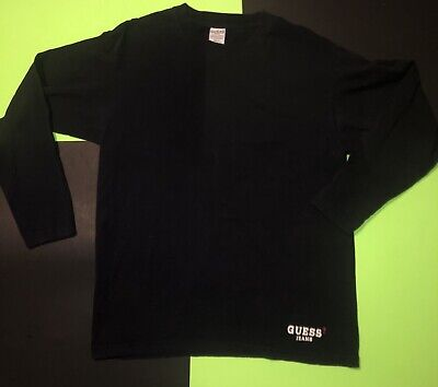 Vintage Guess Jeans USA Long sleeve T-Shirt Black Med. 🔥