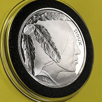 Sioux Indian Sovereign Nation Buffalo Round Coin 1 Troy Oz .999 Pure Fine Silver