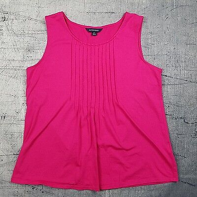 27018656bbe6f Lands End Womens Tank Top size 6 8 Pink Sleeveless Knit Shirt Pleated Front