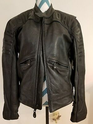 Harley Davidson Mens Black Leather Embossed Jacket Size Small