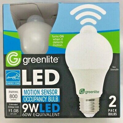 2PK Greenlite LED Motion Sensor light bulb on and off automatic A19 Energy Star