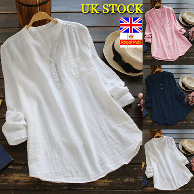UK Women Summer Gypsy Baggy Tunic Tops Shirt Long Sleeve Blouse Plus Size 6-26