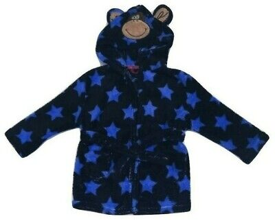 Baby Boy Babies Dressing Gown Robe Fleece Soft Cosy Warm Cute Gift Monkey Hood