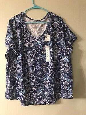 9cd0ddd1 SONOMA EVERYDAY TEE plus size 2X v neck teal & blue - $10.00 | PicClick