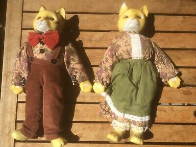 Vintage Calico Porcelain Cat Dolls, His And Hers! 1970's