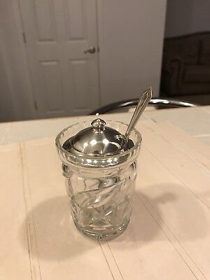 Vintage Etched Glass Jam/Jelly Jar with Sterling Cover & Spoon Webster