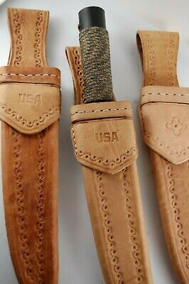 """Hand Made Leather Sheath For Straight Blade Knife Up To 10"""" Blade Fixed"""