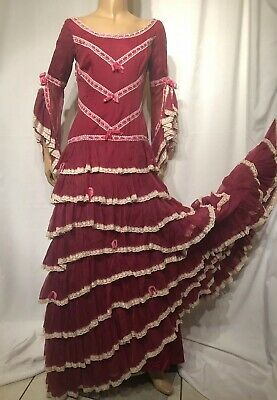 e8eed11249ea Flamenco Dress Maroon and White Lace With Pink Velvet Piping Vintage 3 4  Sleeve