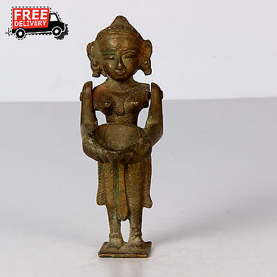 1800's Old Antique Hand Made Brass Women Standing Statue Diya Rich Patina 1392