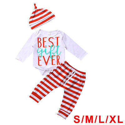 XMAS 3PCS Set Newborn Baby Girl Boy Top Romper+Pants Hat Outfit Clothes Design